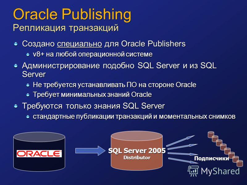 Oracle Publishing Репликация транзакций Создано специально для Oracle Publishers v8+ на любой операционной системе Администрирование подобно SQL Server и из SQL Server Не требуется устанавливать ПО на стороне Oracle Требует минимальных знаний Oracle