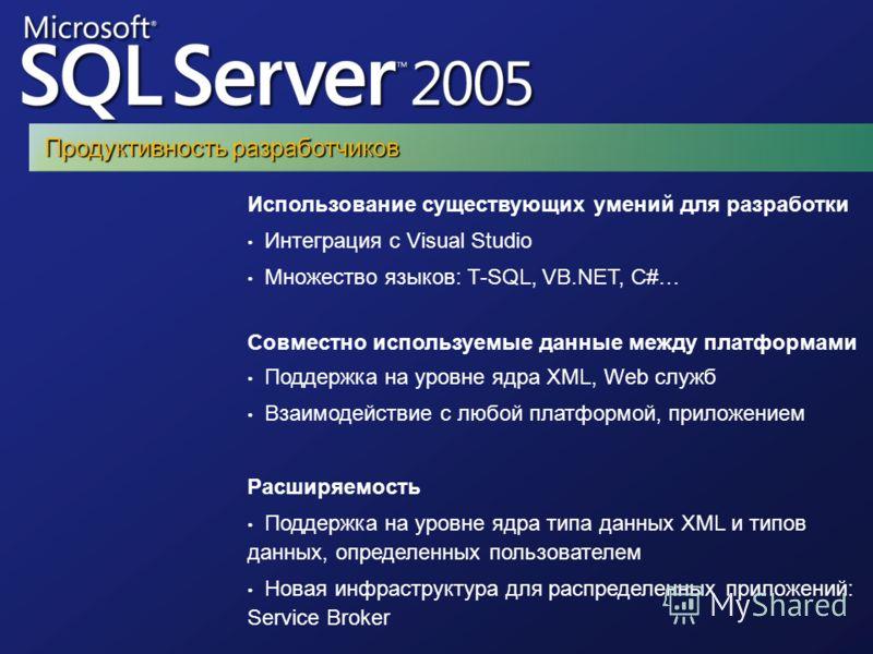 Использование существующих умений для разработки Интеграция с Visual Studio Множество языков: T-SQL, VB.NET, C#… Совместно используемые данные между платформами Поддержка на уровне ядра XML, Web служб Взаимодействие с любой платформой, приложением Ра