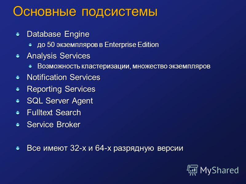 Основные подсистемы Database Engine до 50 экземпляров в Enterprise Edition Analysis Services Возможность кластеризации, множество экземпляров Notification Services Reporting Services SQL Server Agent Fulltext Search Service Broker Все имеют 32-х и 64