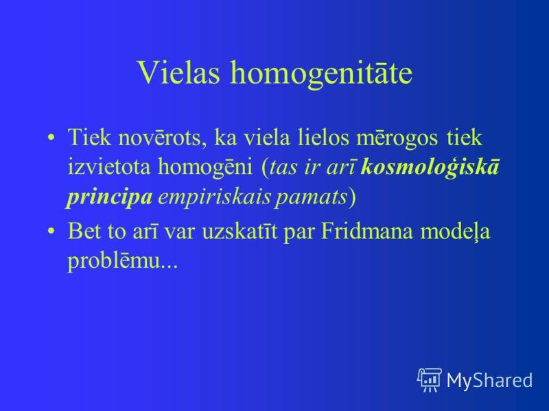 Vielas homogenitāte Tiek novērots, ka viela lielos mērogos tiek izvietota homogēni (tas ir arī kosmoloģiskā principa empiriskais pamats) Bet to arī var uzskatīt par Fridmana modeļa problēmu...