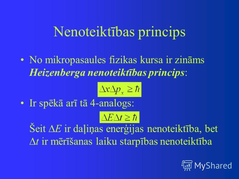 Nenoteiktības princips No mikropasaules fizikas kursa ir zināms Heizenberga nenoteiktības princips: Ir spēkā arī tā 4-analogs: Šeit E ir daļiņas enerģijas nenoteiktība, bet t ir mērīšanas laiku starpības nenoteiktība