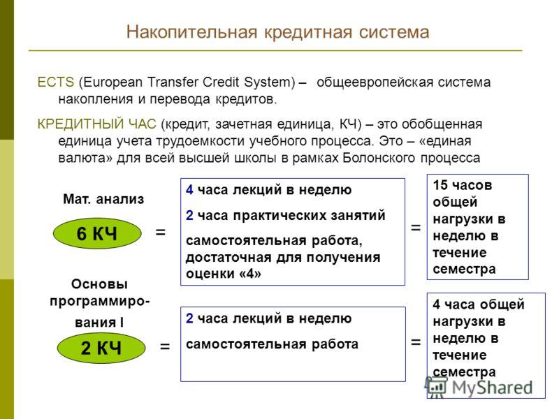 ECTS (European Transfer Credit System) – общеевропейская система накопления и перевода кредитов. КРЕДИТНЫЙ ЧАС (кредит, зачетная единица, КЧ) – это обобщенная единица учета трудоемкости учебного процесса. Это – «единая валюта» для всей высшей школы в