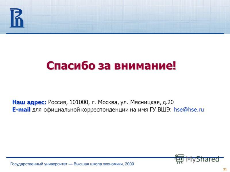 Наш адрес: Наш адрес: Россия, 101000, г. Москва, ул. Мясницкая, д.20 E-mail E-mail для официальной корреспонденции на имя ГУ ВШЭ: hse@hse.ru Спасибо за внимание! 21