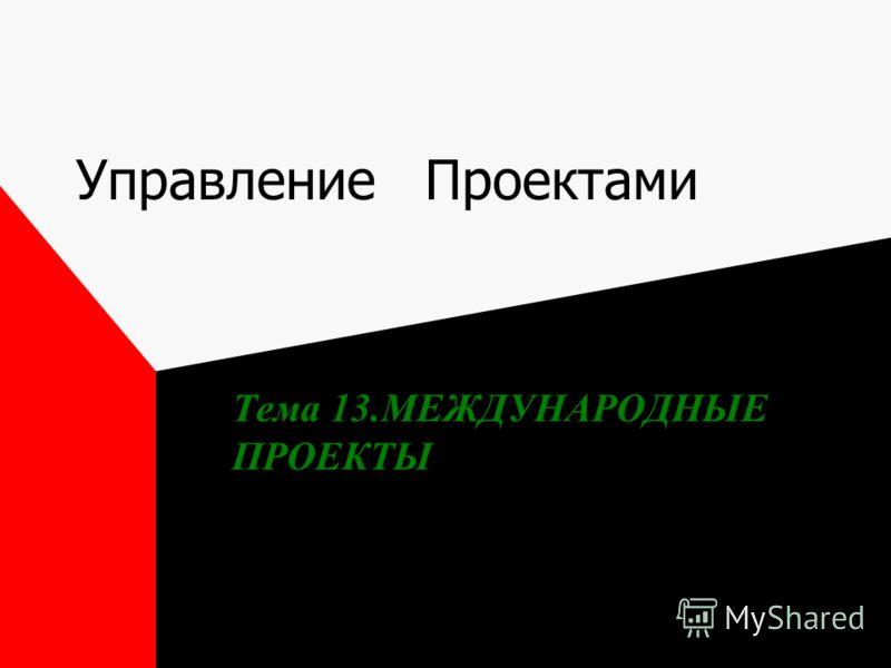 Управление Проектами Тема 13.МЕЖДУНАРОДНЫЕ ПРОЕКТЫ