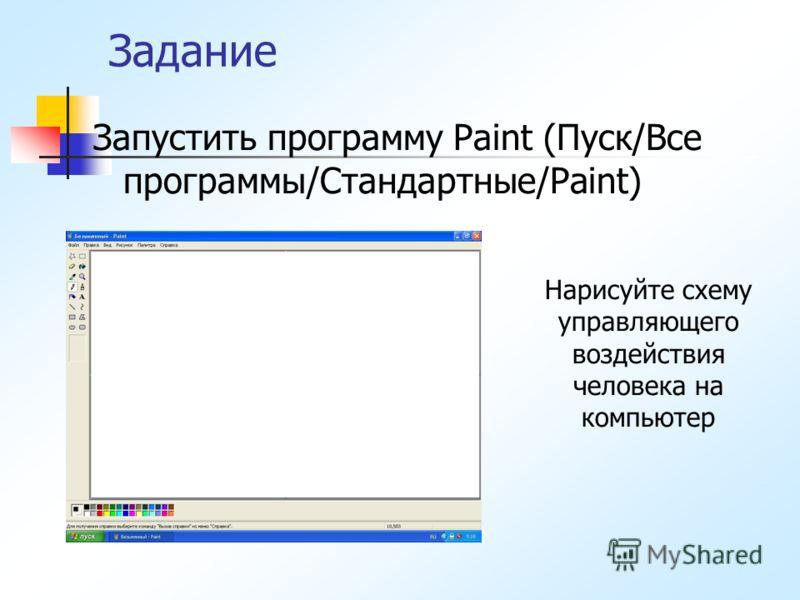 Задание Запустить программу Paint (Пуск/Все программы/Стандартные/Paint) Нарисуйте схему управляющего воздействия человека на компьютер