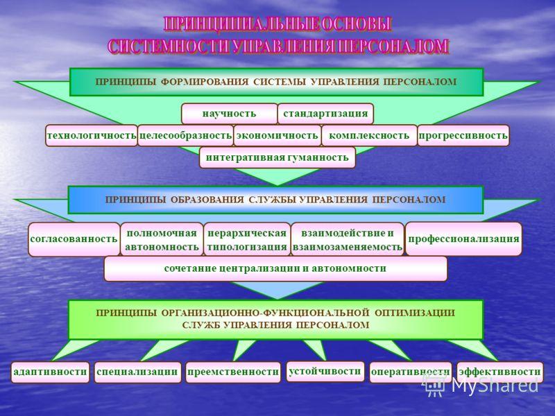 ПРИНЦИПЫ ФОРМИРОВАНИЯ СИСТЕМЫ УПРАВЛЕНИЯ ПЕРСОНАЛОМ научностьстандартизация экономичностьцелесообразностьтехнологичностькомплексностьпрогрессивность интегративная гуманность ПРИНЦИПЫ ОБРАЗОВАНИЯ СЛУЖБЫ УПРАВЛЕНИЯ ПЕРСОНАЛОМ иерархическая типологизаци