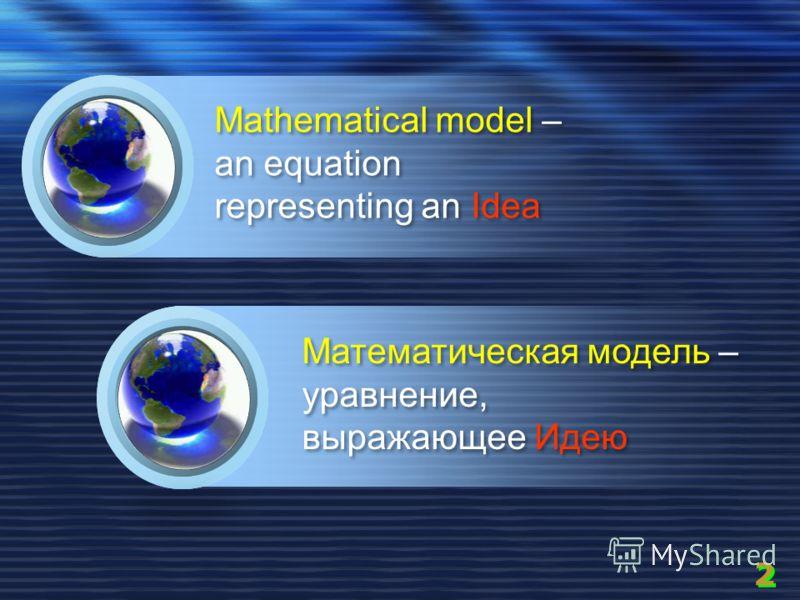 Mathematical model – an equation representing an Idea Математическая модель – уравнение, выражающее Идею Математическая модель – уравнение, выражающее Идею 2 2