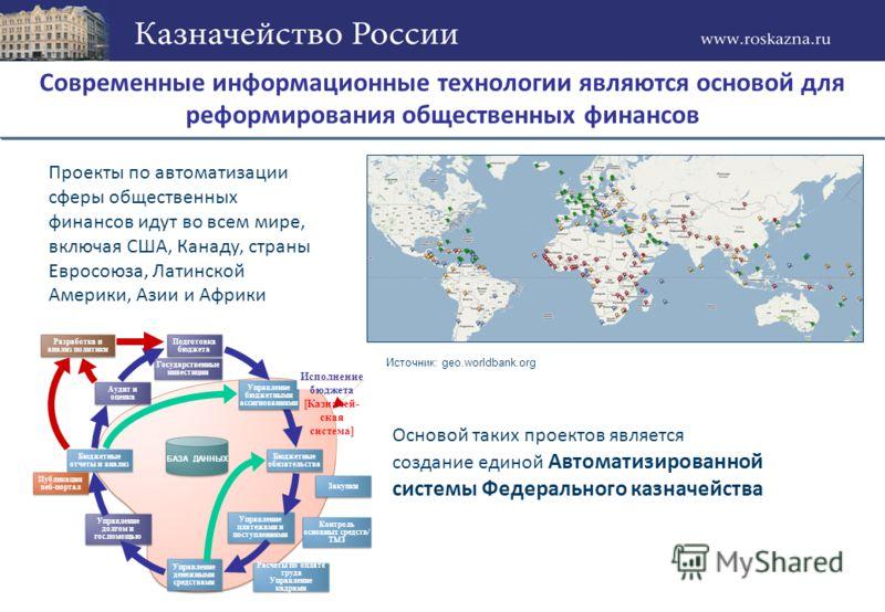 Современные информационные технологии являются основой для реформирования общественных финансов Проекты по автоматизации сферы общественных финансов идут во всем мире, включая США, Канаду, страны Евросоюза, Латинской Америки, Азии и Африки Основой та