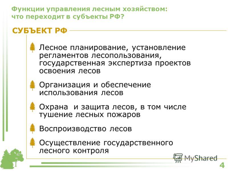 4 Функции управления лесным хозяйством: что переходит в субъекты РФ? Лесное планирование, установление регламентов лесопользования, государственная экспертиза проектов освоения лесов Организация и обеспечение использования лесов Охрана и защита лесов