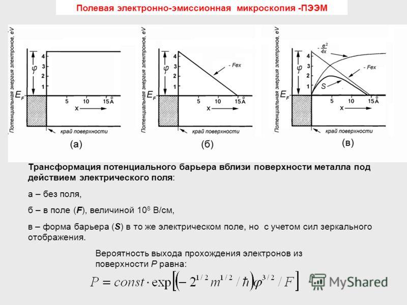 Трансформация потенциального барьера вблизи поверхности металла под действием электрического поля: а – без поля, б – в поле (F), величиной 10 8 В/см, в – форма барьера (S) в то же электрическом поле, но с учетом сил зеркального отображения. Вероятнос