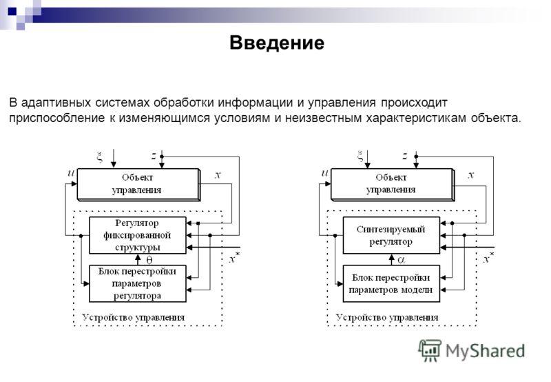 Введение В адаптивных системах обработки информации и управления происходит приспособление к изменяющимся условиям и неизвестным характеристикам объекта.