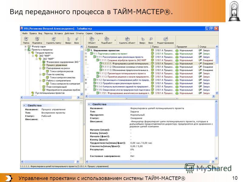 Управление проектами с использованием системы ТАЙМ-МАСТЕР® 10 Вид переданного процесса в ТАЙМ-МАСТЕР®.