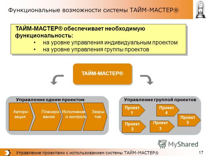 Управление проектами с использованием системы ТАЙМ-МАСТЕР® 17 Функциональные возможности системы ТАЙМ-МАСТЕР® ТАЙМ-МАСТЕР® обеспечивает необходимую функциональность: на уровне управления индивидуальным проектом на уровне управления группы проектов ТА