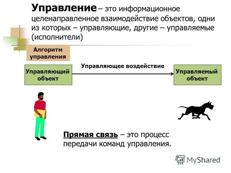 Управление – это информационное целенаправленное взаимодействие объектов, одни из которых – управляющие, другие – управляемые (исполнители) Управляющий объект Управляемый объект Управляющее воздействие Прямая связь – это процесс передачи команд управ