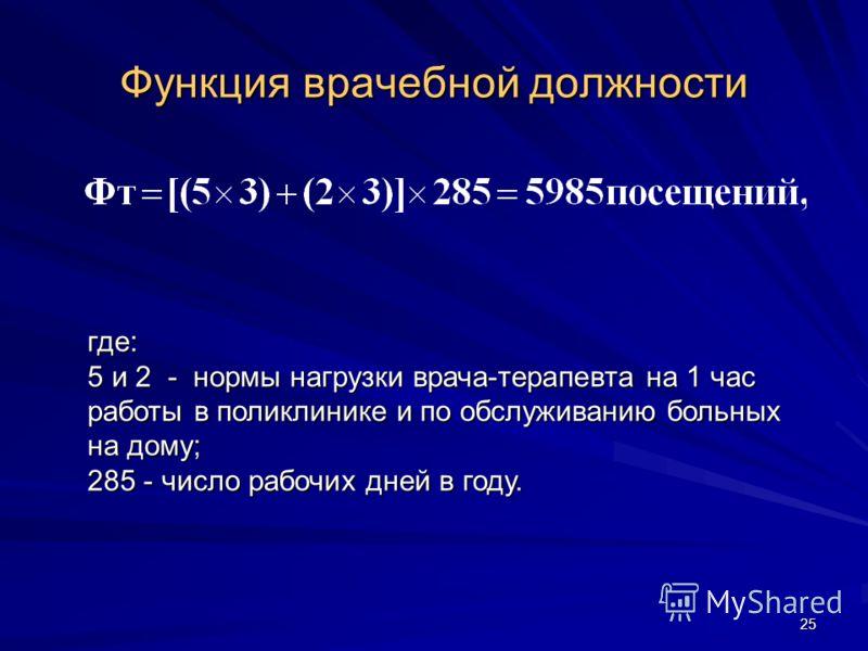 25 Функция врачебной должности где: 5 и 2 - нормы нагрузки врача-терапевта на 1 час работы в поликлинике и по обслуживанию больных на дому; 285 - число рабочих дней в году.
