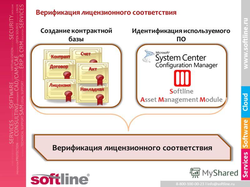 8-800-100-00-23 l info@softline.ru www.softline.ru Software Cloud Services Softline Asset Management Module Верификация лицензионного соответствия