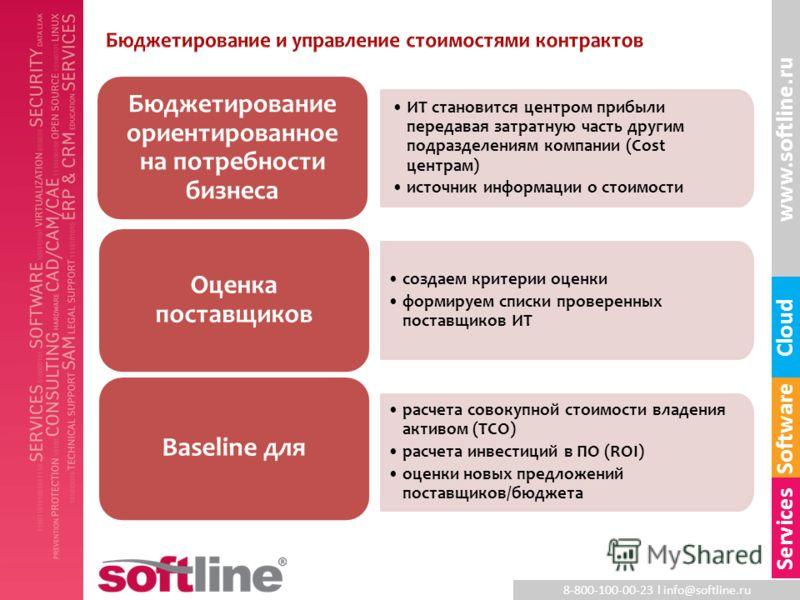 8-800-100-00-23 l info@softline.ru www.softline.ru Software Cloud Services ИТ становится центром прибыли передавая затратную часть другим подразделениям компании (Cost центрам) источник информации о стоимости Бюджетирование ориентированное на потребн
