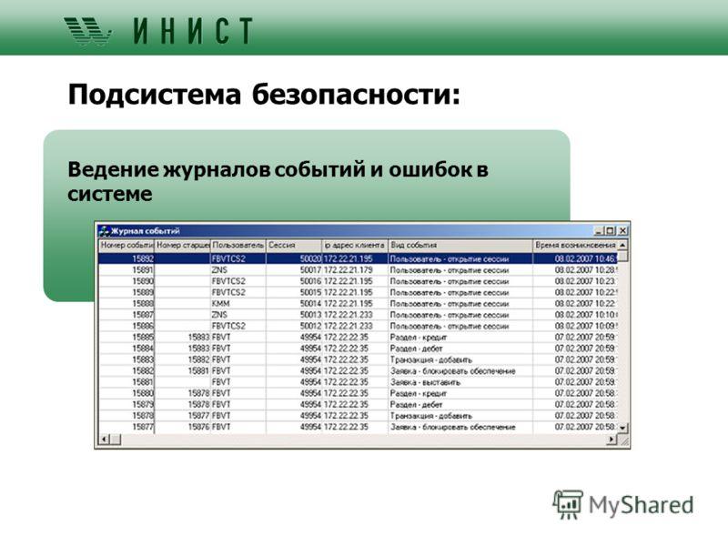 Подсистема безопасности: Ведение журналов событий и ошибок в системе