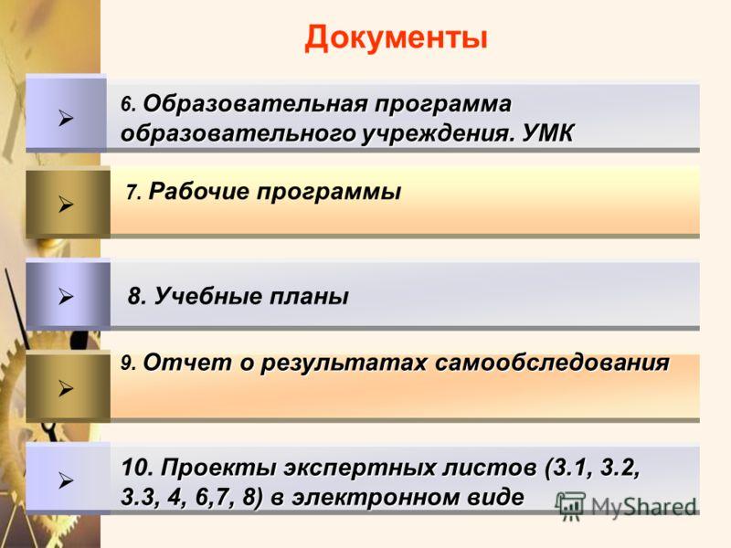 Проекты экспертных листов (3.1, 3.2, 3.3, 4, 6,7, 8) в электронном виде 10. Проекты экспертных листов (3.1, 3.2, 3.3, 4, 6,7, 8) в электронном виде Отчет о результатах самообследования 9. Отчет о результатах самообследования 8. Учебные планы 7. Рабоч