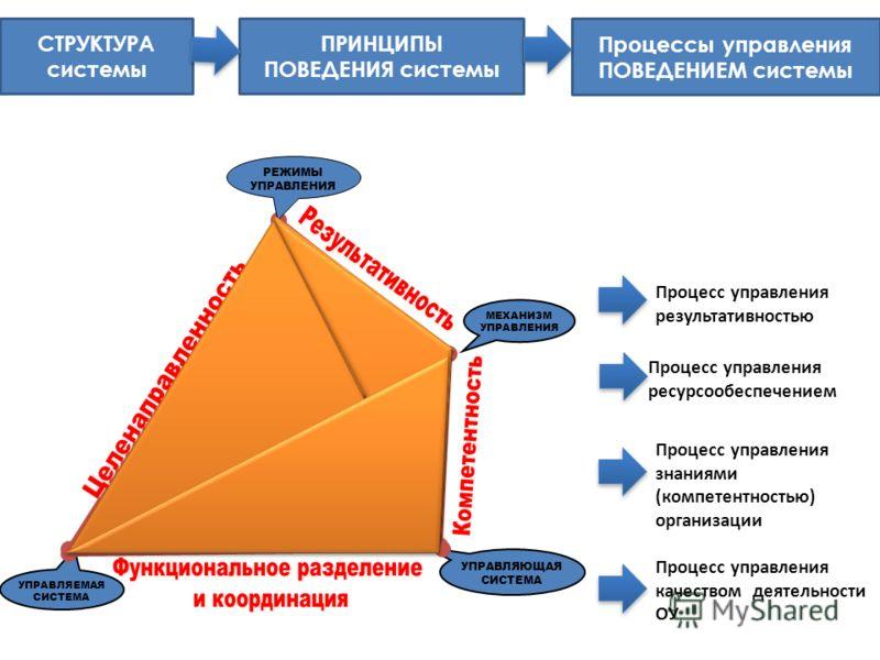УПРАВЛЯЕМАЯ СИСТЕМА МЕХАНИЗМ УПРАВЛЕНИЯ УПРАВЛЯЮЩАЯ СИСТЕМА РЕЖИМЫ УПРАВЛЕНИЯ СТРУКТУРА системы ПРИНЦИПЫ ПОВЕДЕНИЯ системы Процессы управления ПОВЕДЕНИЕМ системы Процесс управления результативностью Процесс управления ресурсообеспечением Процесс упра