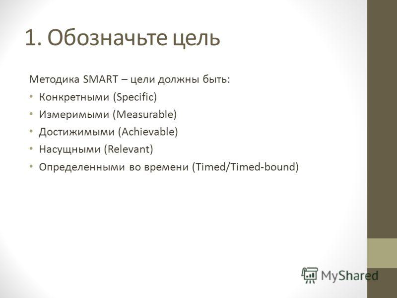 1. Обозначьте цель Методика SMART – цели должны быть: Конкретными (Specific) Измеримыми (Measurable) Достижимыми (Achievable) Насущными (Relevant) Определенными во времени (Timed/Timed-bound)