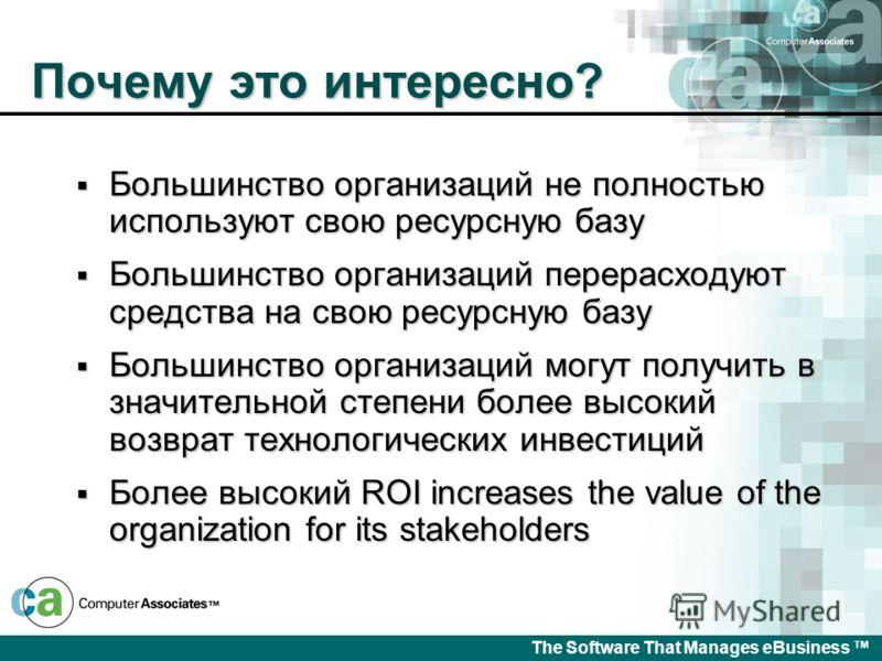 The Software That Manages eBusiness Выгоды Максимальный возврат инвестиций Максимальный возврат инвестиций Более эффективное использование ресурсов Более эффективное использование ресурсов Автоматизированные процессы управления ресурсами Автоматизиро