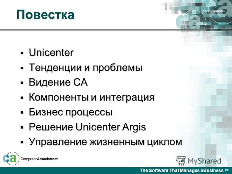 Управление программно- аппаратными ресурсами Представление Unicenter Argis