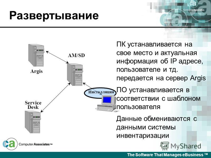 The Software That Manages eBusiness Приобретение Покупка UAM Уникальный ID считывается с ПК и передается на сервер Argis Данные о машине посылаются на сервер Argis Стикер с инвентарным номером приклеивается на ПК Argis