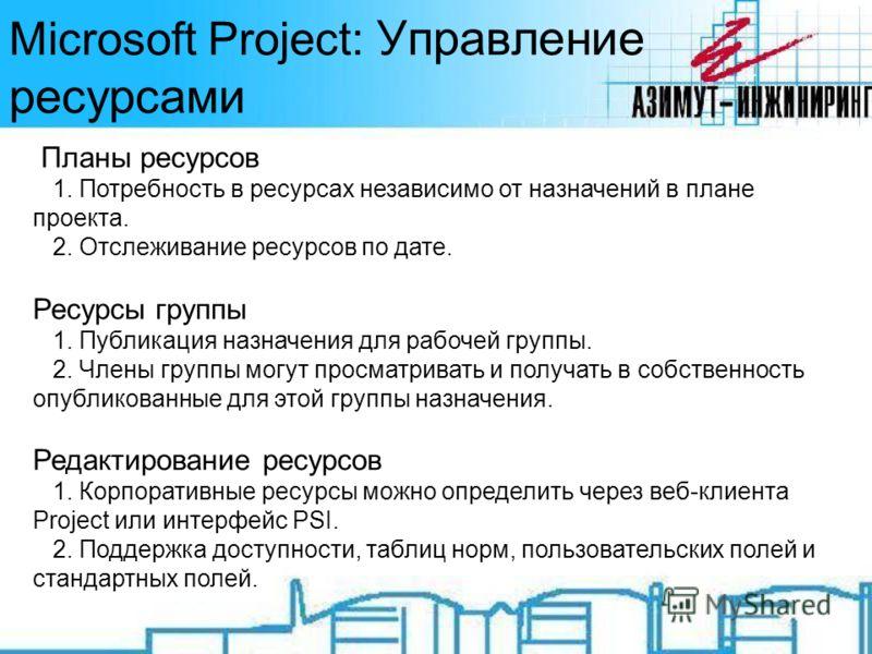 Microsoft Project: Управление ресурсами Планы ресурсов 1. Потребность в ресурсах независимо от назначений в плане проекта. 2. Отслеживание ресурсов по дате. Ресурсы группы 1. Публикация назначения для рабочей группы. 2. Члены группы могут просматрива