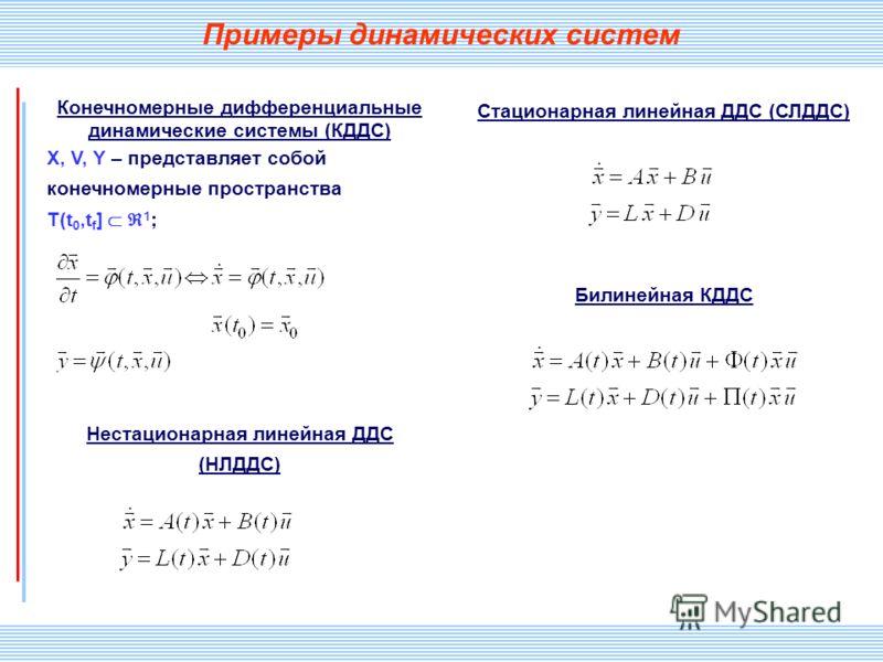 СПИИ РАН 29 Примеры динамических систем Конечномерные дифференциальные динамические системы (КДДС) X, V, Y – представляет собой конечномерные пространства T(t 0,t f ] 1 ; Нестационарная линейная ДДС (НЛДДС) Стационарная линейная ДДС (СЛДДС) Билинейна