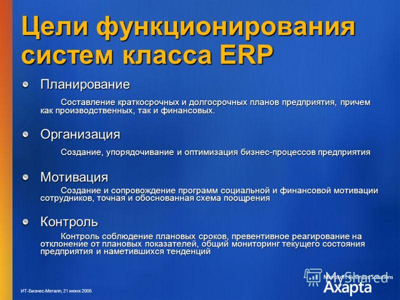 ИТ-Бизнес-Металл, 21 июня 2005 Цели функционирования систем класса ERP Планирование Составление краткосрочных и долгосрочных планов предприятия, причем как производственных, так и финансовых. Организация Создание, упорядочивание и оптимизация бизнес-