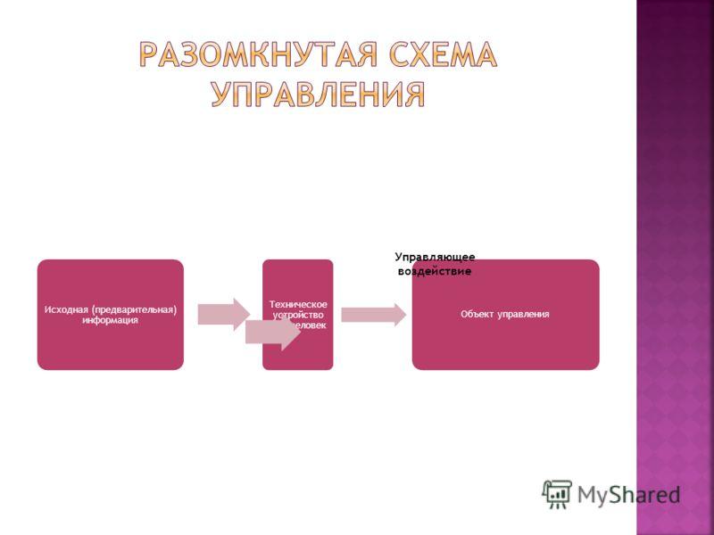 Исходная (предварительная) информация Техническое устройство или человек Объект управления Управляющее воздействие