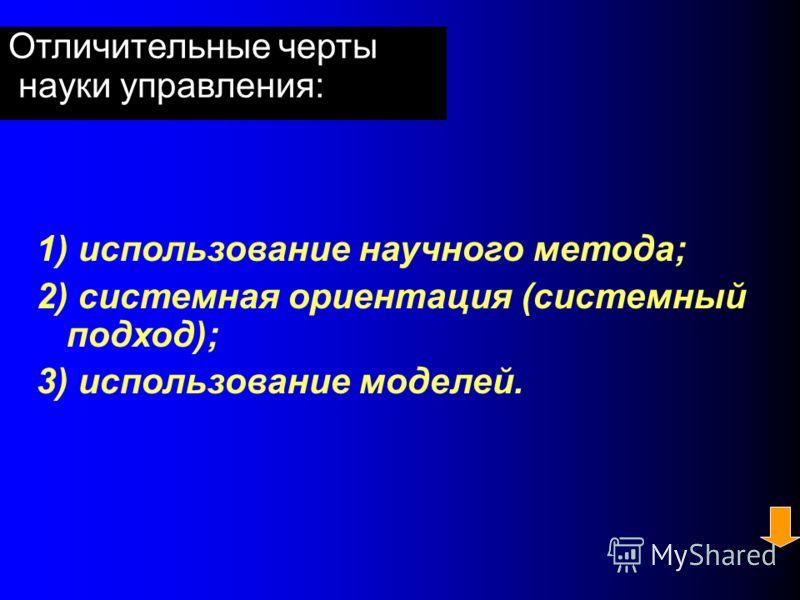 Взаимозаменяемые понятия категории «наука управления»: 1) наука о принятии решений; 2) системный анализ; 3) наука о системах; 4) исследование операций. Мескон М. (1994)