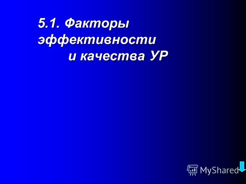 План темы 5.1. Основные факторы, влияющие на эффективность и качество УР 5.2. Цели и критерии оценки УР 5.3. Подходы к формированию критериев 5.4. Система ценностей - как мерило УР