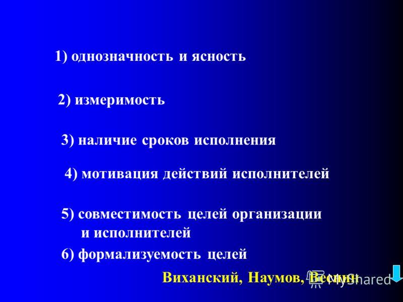 Требования к целям:
