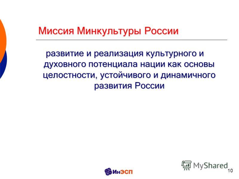 10 Миссия Минкультуры России развитие и реализация культурного и духовного потенциала нации как основы целостности, устойчивого и динамичного развития России