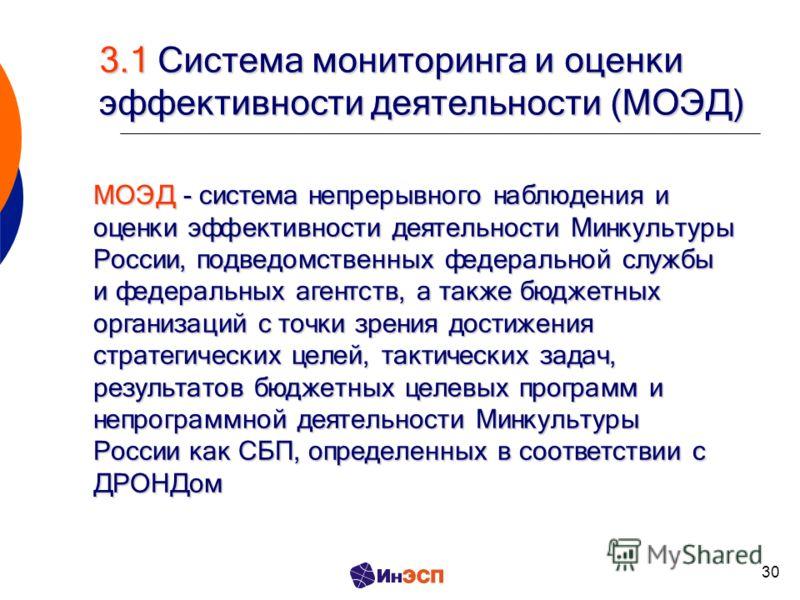 30 3.1 Система мониторинга и оценки эффективности деятельности (МОЭД) МОЭД - система непрерывного наблюдения и оценки эффективности деятельности Минкультуры России, подведомственных федеральной службы и федеральных агентств, а также бюджетных организ