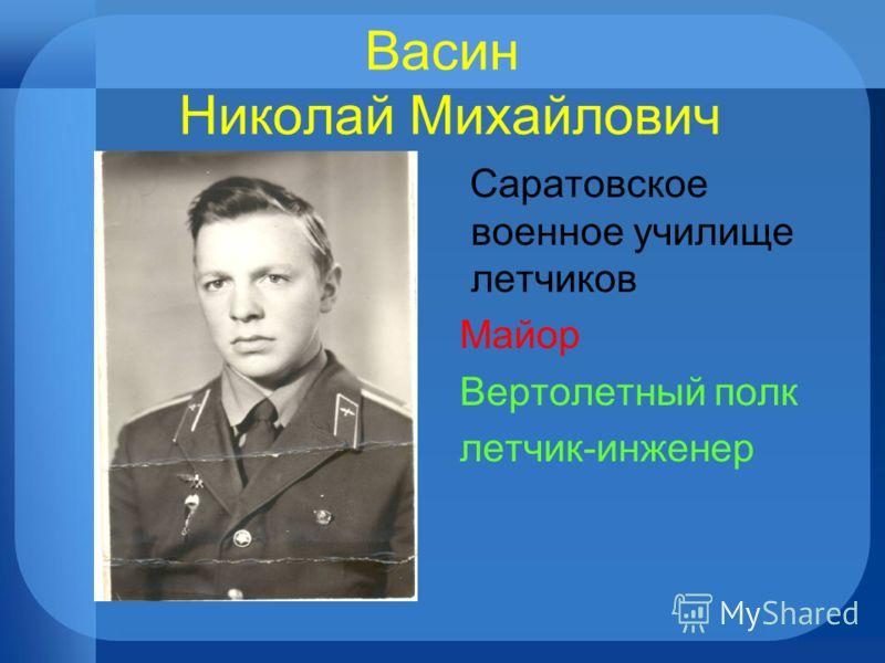 Васин Николай Михайлович Саратовское военное училище летчиков Майор Вертолетный полк летчик-инженер