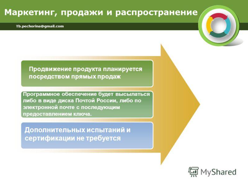 Маркетинг, продажи и распространение Tb.pechorina@gmail.com Продвижение продукта планируется посредством прямых продаж Программное обеспечение будет высылаться либо в виде диска Почтой России, либо по электронной почте с последующим предоставлением к