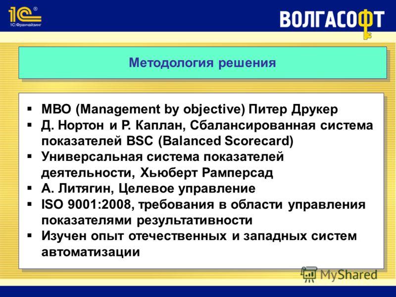 Методология решения МВО (Management by objective) Питер Друкер Д. Нортон и Р. Каплан, Сбалансированная система показателей BSC (Balanced Scorecard) Универсальная система показателей деятельности, Хьюберт Рамперсад А. Литягин, Целевое управление ISO 9