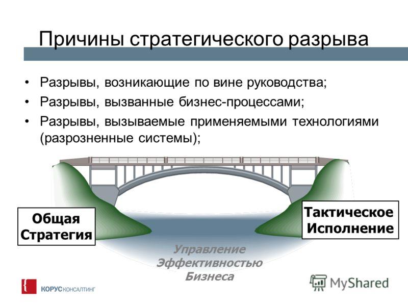 Причины стратегического разрыва Разрывы, возникающие по вине руководства; Разрывы, вызванные бизнес-процессами; Разрывы, вызываемые применяемыми технологиями (разрозненные системы); Общая Стратегия Тактическое Исполнение Управление Эффективностью Биз