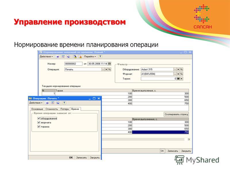 Управление производством Нормирование времени планирования операции
