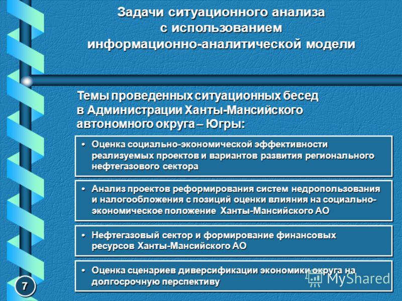 Задачи ситуационного анализа с использованием информационно-аналитической модели Темы проведенных ситуационных бесед в Администрации Ханты-Мансийского автономного округа – Югры: Оценка социально-экономической эффективности реализуемых проектов и вари
