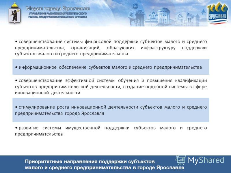 Приоритетные направления поддержки субъектов малого и среднего предпринимательства в городе Ярославле совершенствование системы финансовой поддержки субъектов малого и среднего предпринимательства, организаций, образующих инфраструктуру поддержки суб