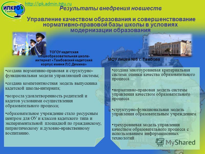 http://ipk.admin.tstu.ru создана нормативно-правовая и структурно- функциональная модели управляющей системы; создана компетентностная модель выпускника кадетской школы-интерната; возросла удовлетворенность родителей и кадетов условиями осуществления