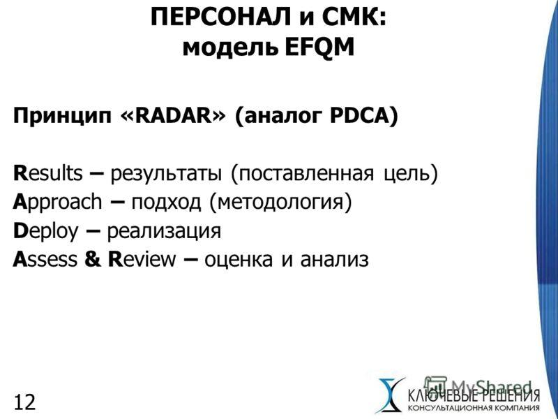 12 ПЕРСОНАЛ и СМК: модель EFQM Принцип «RADAR» (аналог PDCA) Results – результаты (поставленная цель) Approach – подход (методология) Deploy – реализация Assess & Review – оценка и анализ