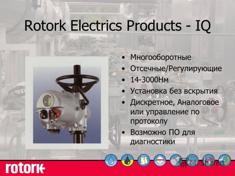 10 Rotork Electrics Products - IQ Многооборотные Отсечные/Регулирующие 14-3000Нм Установка без вскрытия Дискретное, Аналоговое или управление по протоколу Возможно ПО для диагностики