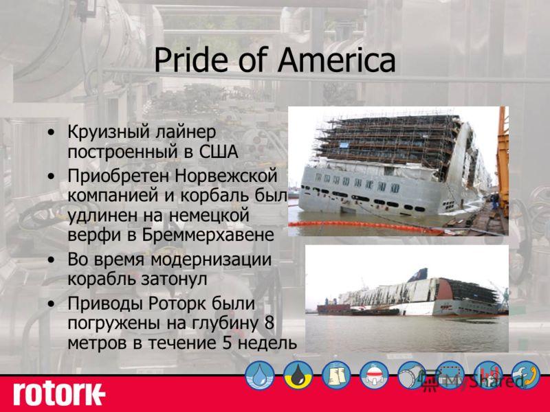 27 Pride of America Круизный лайнер построенный в США Приобретен Норвежской компанией и корбаль был удлинен на немецкой верфи в Бреммерхавене Во время модернизации корабль затонул Приводы Роторк были погружены на глубину 8 метров в течение 5 недель