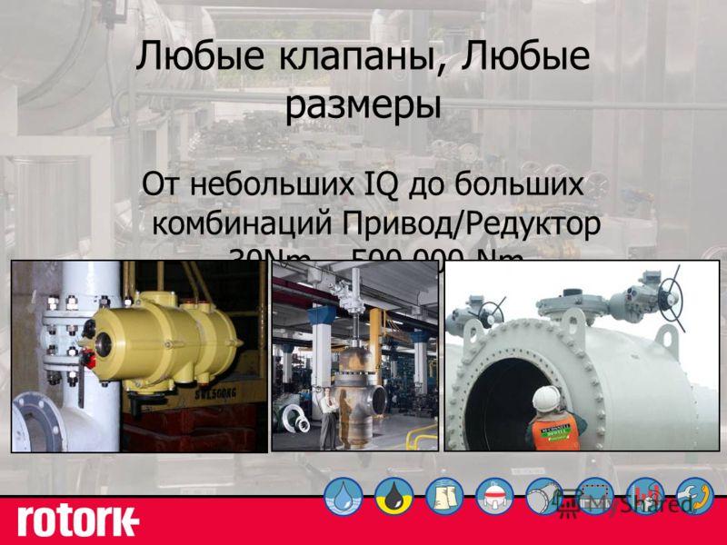 33 Любые клапаны, Любые размеры От небольших IQ до больших комбинаций Привод/Редуктор 30Nm – 500,000 Nm