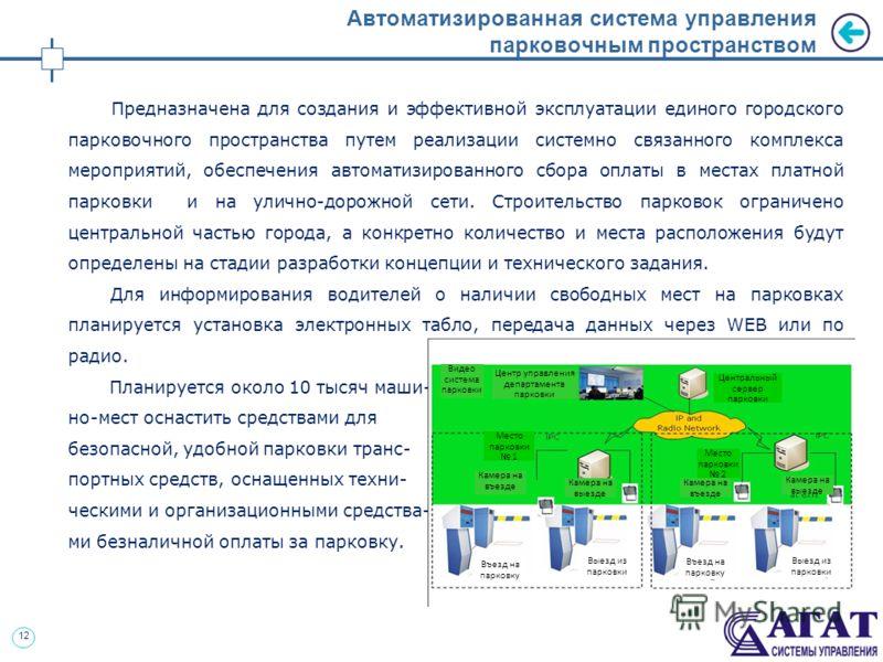 12 Автоматизированная система управления парковочным пространством Предназначена для создания и эффективной эксплуатации единого городского парковочного пространства путем реализации системно связанного комплекса мероприятий, обеспечения автоматизиро